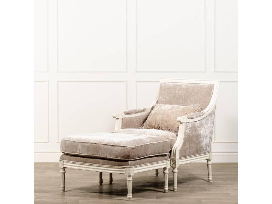 CUF Limited: Siena: кресло  с пуфом (M01 белый, обивка B88)