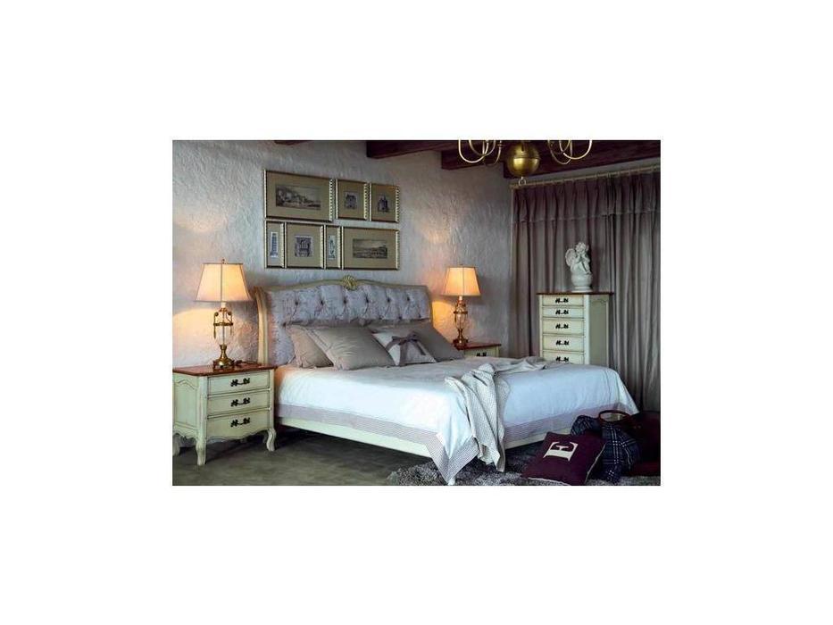CUF Limited: Provence: кровать 180х200  (белый состаренный, ткань #B88)