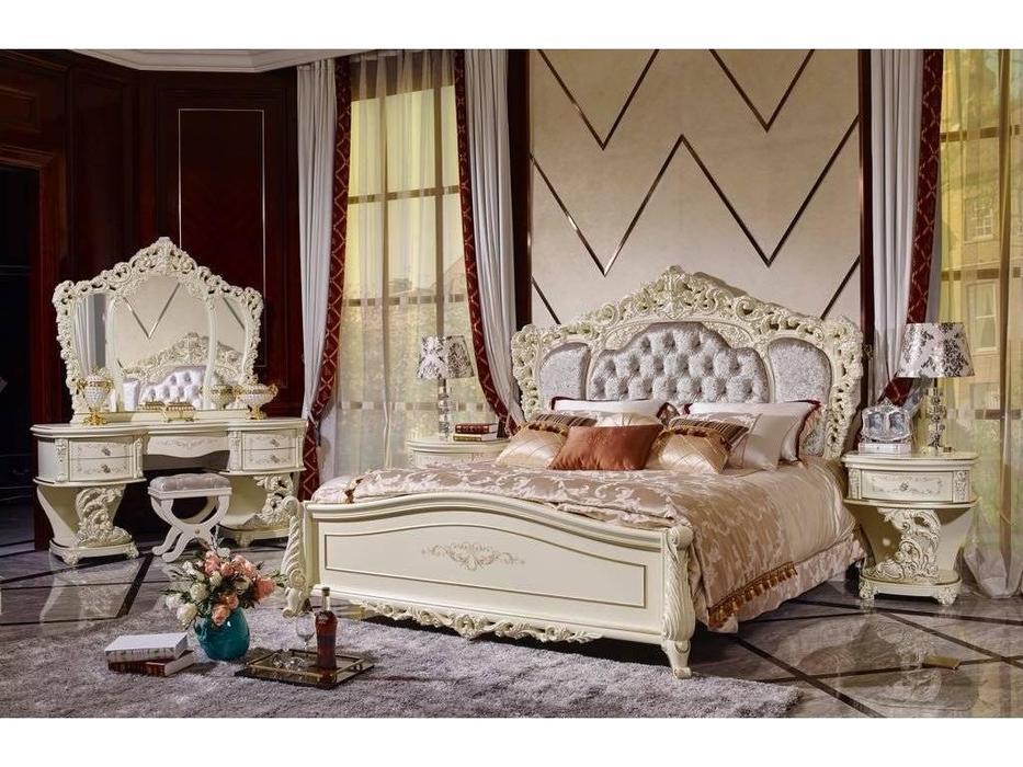 FurnitureCo: Мирелла шарм: кровать  180х200 с мягким изголовьем (слоновая кость)
