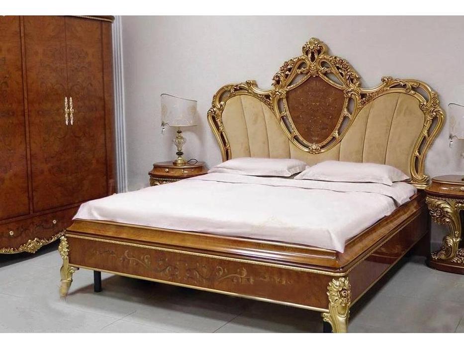 FurnitureCo: Беатриче: кровать  180х200 с мягким изголовьем (орех светлый)