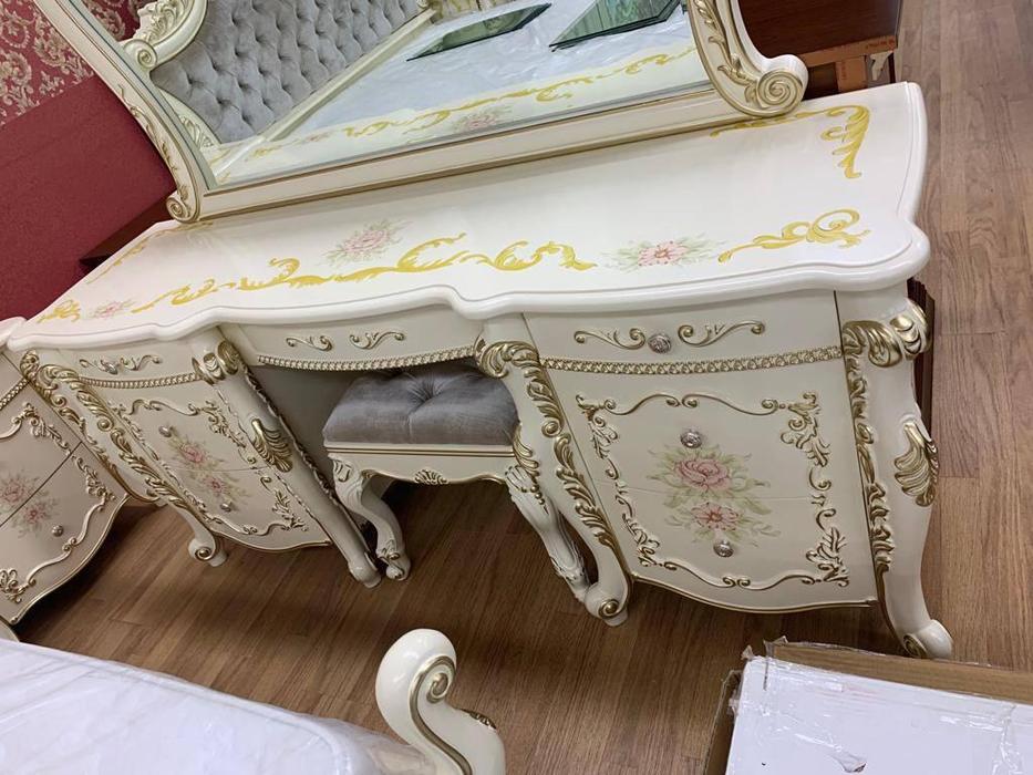 FurnitureCo: Батичелла new: стол туалетный  с зеркаом (беж)