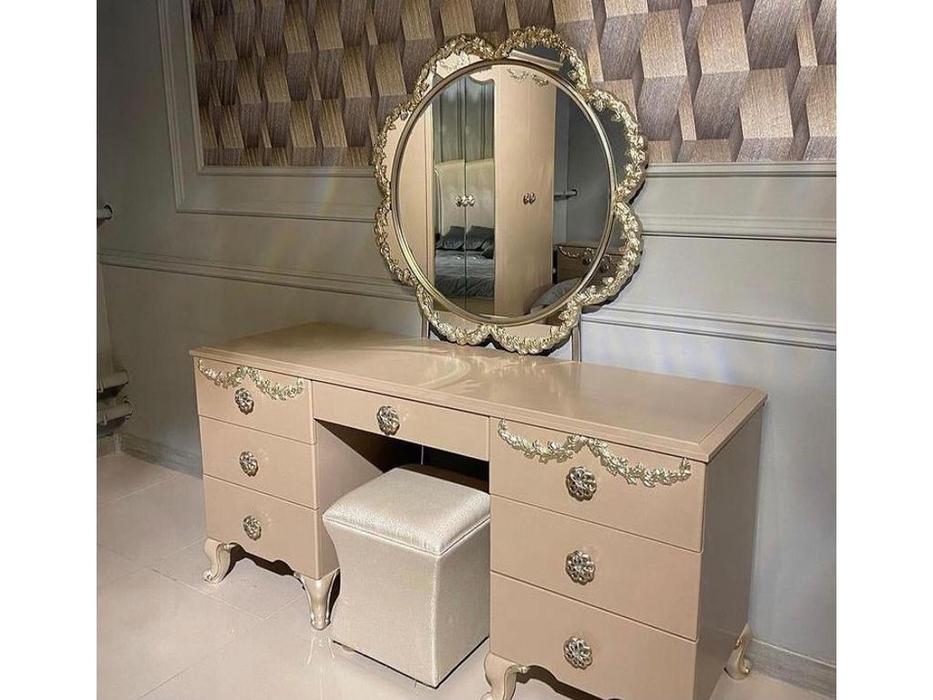 FurnitureCo: Sherilyn: туалетный стол с зеркалом (крем)