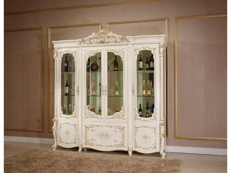 FurnitureCo: Батичелла new: витрина 4 дверная  (беж)